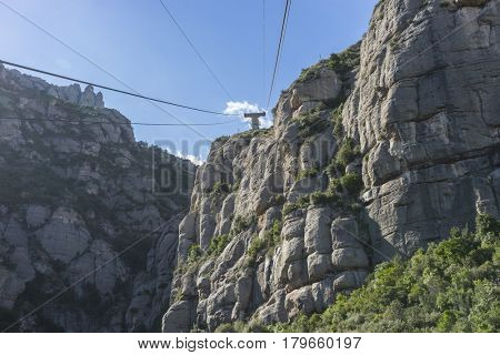 Funicular, Cable car of the Montserrat Monastery in Barcelona, Catalonia, Spain