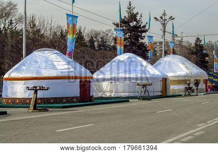 Almaty - Kazakh Yurts On The Street