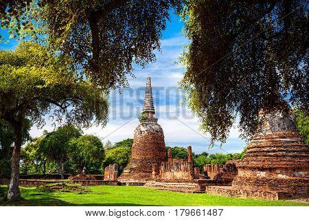 Big ruined Stupa at Wat Si Samphet in Ayuttaya historical capital of Thailand