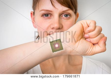 Bionic Chip (processor) Implant In Female Human Body