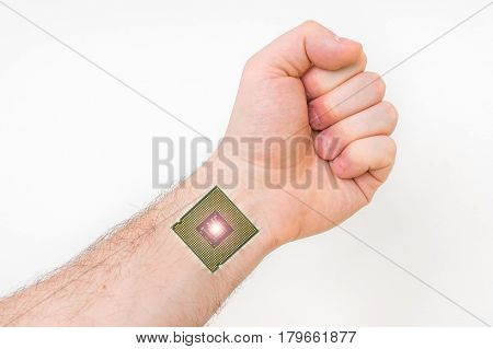 Bionic microchip inside human body - future technology and cybernetics concept