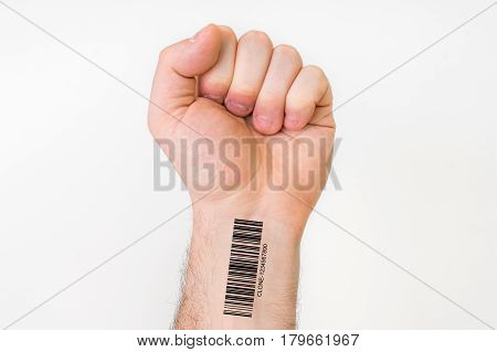 Hand of man with barcode on wrist - genetic clone concept