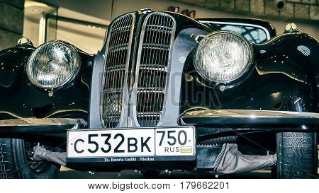 Moscow, Russia - April 02, 2017:  Front Headlights And Grille Of A Bmw-327/28 Coupe, Germany 1939, C