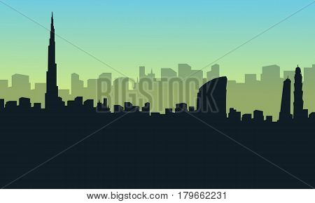Collection stock of dubai city scenery silhouettes vector art