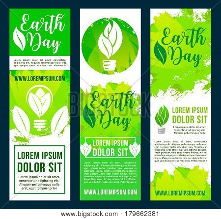 Save Earth banners with green nature and ecology conservation design. World pollution protection and recycling for environment and eco energy consumption. Conceptual symbols of leaf and light bulb