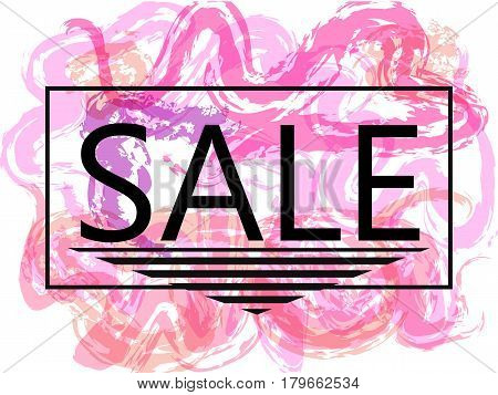 Pink sale off sign over grunge brush art paint abstract texture background design acrylic stroke poster. Perfect watercolor design for sale shop and sale banners.Vector illustration