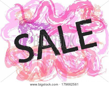 Season spring pink sale off sign over grunge brush art paint abstract texture background design acrylic stroke poster. Perfect watercolor design for sale shop and sale banners.Vector illustration