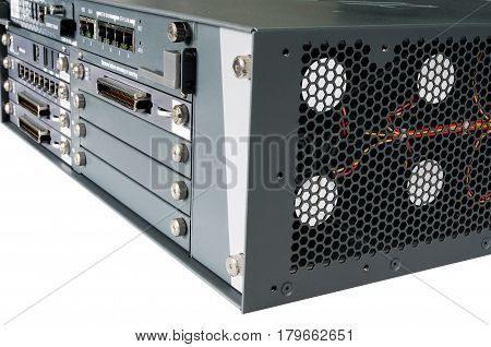 Communication server front panel isometric view isolated on the white background