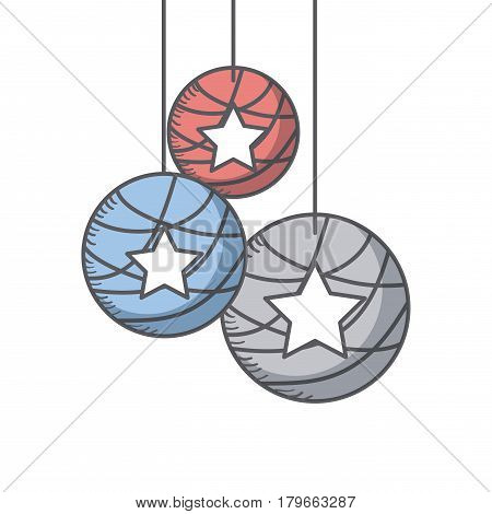 decorative balls with stars icon over white background. usa independence day cocnept.  colorful design. vector illustration