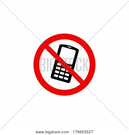 Prohibiting Sign On A White Background: Use Of Mobile Phones Is Prohibited.