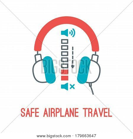 Concept of rules of airplane safety for banner design. Vector thin line icon of headphones volume for safe travel isolated on white. Safe plane flight.