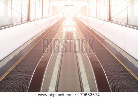 Modern Walkway Of Escalator Move Forward And Escalator Move Backward In International Airport. Escal
