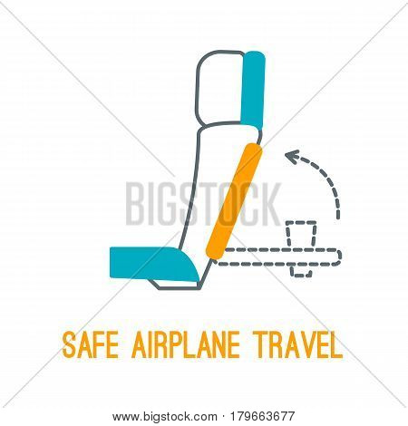Concept of rules of airplane safety for banner design. Vector thin line icon of chair table position for safe travel isolated on white. Safe plane flight.