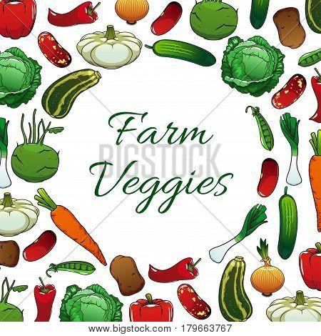 Farm vegetables poster, vegetarian food background. Pepper, carrot, cabbage, potato, cucumber, bean, green pea and onion, zucchini, kohlrabi, pattypan squash veggies frame for farm market label design