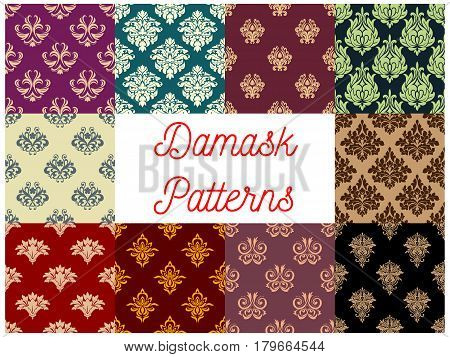 Victorian floral damask seamless pattern set. Flourish ornament with flower and leaf scroll motif. Wallpaper, interior textile, embellishment design