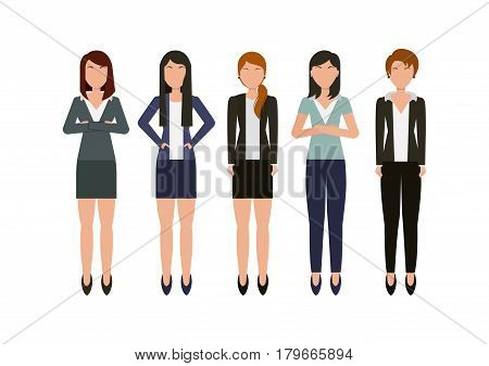 business women wearing executive clothes icon over white background. colorful design. vector illustration