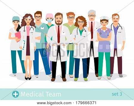 Hospital team. Medical staff flat professionals group in uniform vector illustration