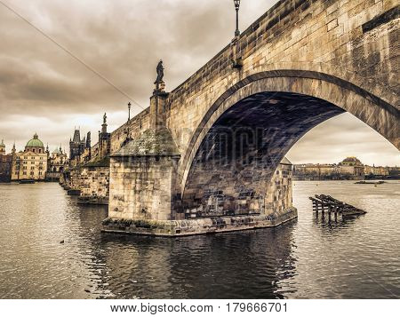 Charles Bridge and the Vltava river, Prague, Czech Republic