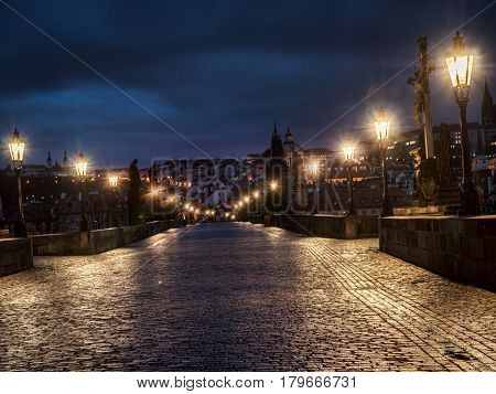 Empty Charles Bridge at night, Prague, Czech Republic