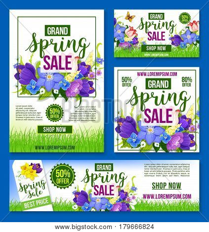 Spring Sale web site templates set for shop or store posters and banners. Vector holiday shopping discount offer design of springtime flowers crocuses, daffodils and lily floral bouquets with prices