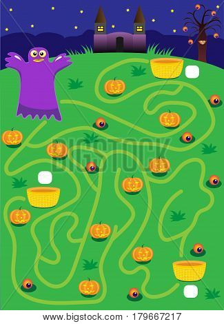 labyrinth. ghost. maze on halloween. find way where more pumpkins. cartoon vector with editable layers