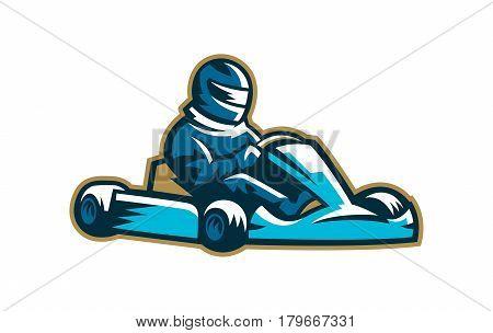 Colorful karting logo. Moto sport, extreme, racing Vector illustration