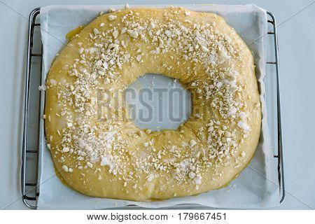 Close Up Of making of sweet bread ringed dessert On oven plate. Called roscon is typical in spanish cuisine. Horizontal composition