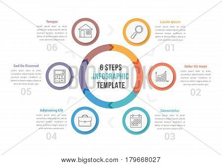 Circle diagram infographic template with arrows with six steps, workflow, process, vector eps10 illustration