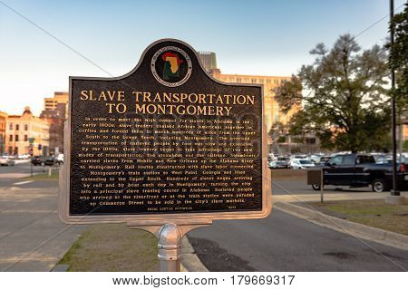 Montgomery Alabama USA - March 18 2017: Historic plaque commemorating the slave trade in the nineteen century.