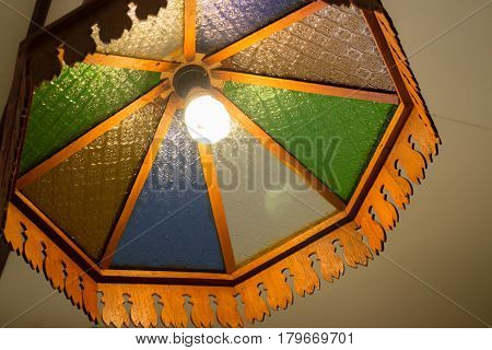 Old Ceiling Traditional Wooden Lamp stock photo