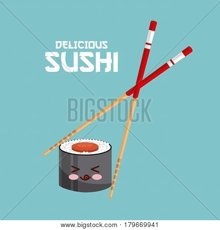 kawaii sushi and chopsticks over blue background. colorful design. vector illustration