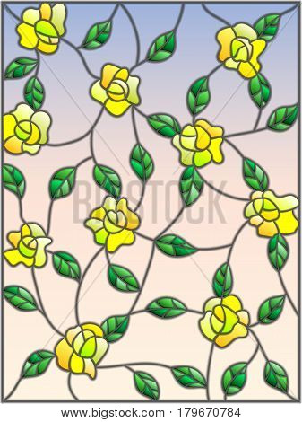 Illustration in the style of stained glass with intertwined yellow roses and leaves on a sky background