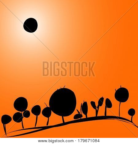 landscape with solar eclipse (trees on hill)