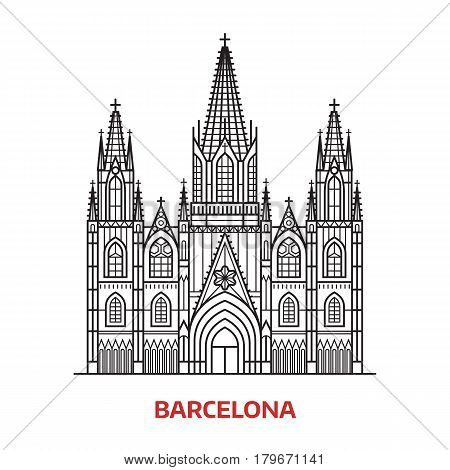 Travel Barcelona landmark icon. Gothic cathedral is one of the famous tourist attractions in capital of Catalonia, Spain. Thin line catholic church vector illustration in outline design.