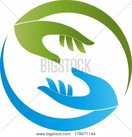 Two hands in green and blue, physiotherapy and helper logo