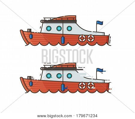 Private yacht isolated on white background. Red motor boat sailing over the sea waves. Yachting speedboat concept vector illustration in flat design.