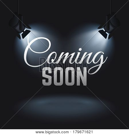 Coming soon vector mystery retail concept with spotlights on stage. Promotion banner coming soon, illustration of illuminated text coming soon