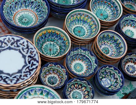 Decorative Ceramic Cups With Traditional Uzbekistan Ornament.