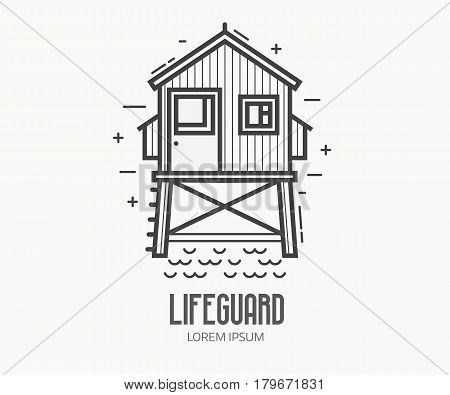 Beach lifeguard logo in thin line design. Life guard house or tower logotype or label template. Baywatch hut vector linear illustration.