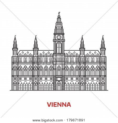 Travel Vienna landmark icon. Gothic City Hall is one of the famous architectural tourist attractions in capital of Austria. Thin line catholic clock tower vector illustration in outline design.
