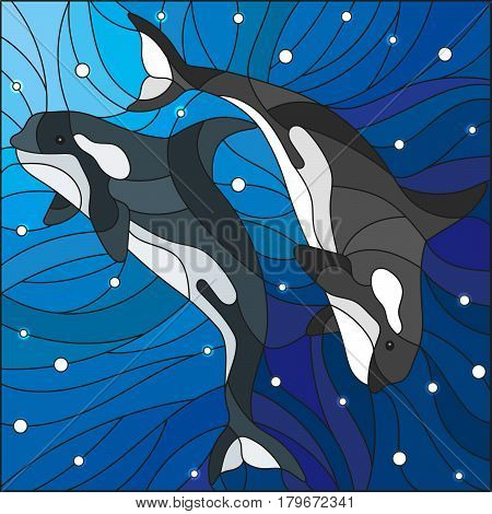 Illustration in the style of stained glass with two whales on the background of water and air bubbles