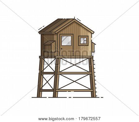 Wooden lifeguard house in flat design. Retro life guard tower isolated on white background. Baywatch hut vector illustration.