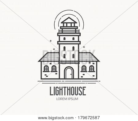 Lighthouse logo or label template in linear style. Sea light house logotype in thin line design. Old pharos or seamark beam outline icon.
