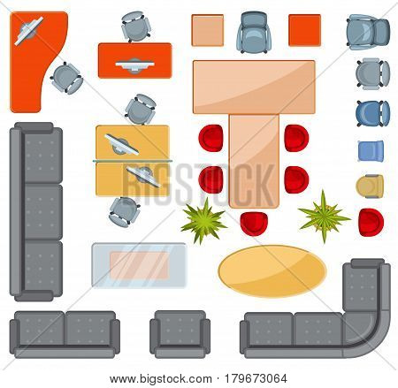 Top view interior furniture icons flat vector icons. Projection architectural floorplan office, illustration of office drawing interior