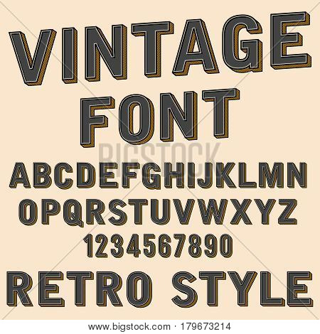 Retro 3d alphabet and number sign, old typography style, vector cartoon font letters. Retro abc letter design, illustration of vintage abc style typography