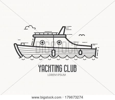 Yachting club logo or label template in linear style. Sea boat logotype in thin line design. Yacht racing outline icon.