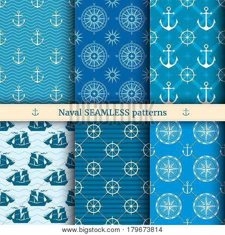 Marine, nautical, sea vector seamless patterns set. Nautical background collection, illustration of ocean marine background