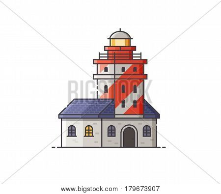 Lighthouse vector illustration. Red light house building isolated on white background. Sea pharos or seamark isolated on white background.