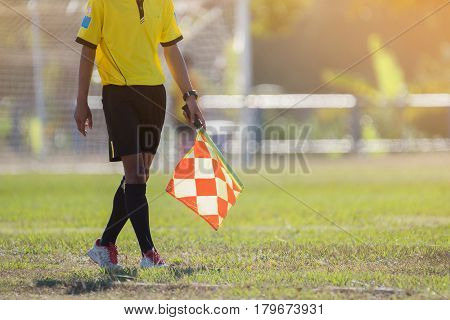 Assistant referee moving along the sideline during a soccer match. Assistant referee standing at the sideline. Assistant referee game. Assistant referee sport. Assistant referee man.