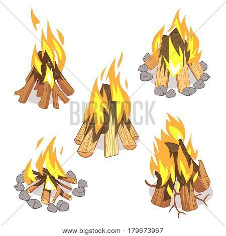 Campfire, outdoor bonfire with burned logs cartoon vector set. Wood burn light, illustration of warm bonfire with wood